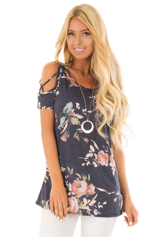 Navy Floral Print Tee Shirt with X Strap Cold Shoulders front close up