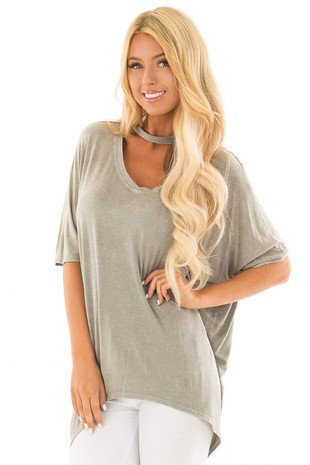 Grey Mineral Wash Hi Low V Neck Top with Choker front close up
