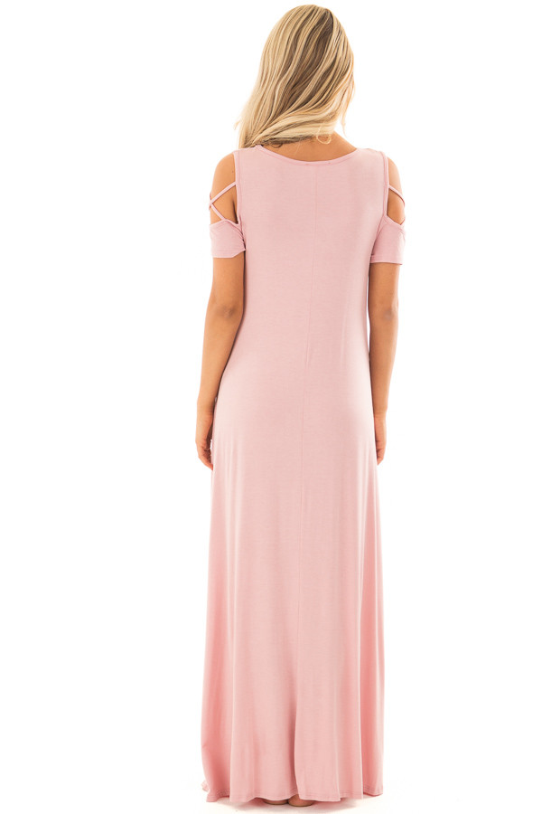 Rose Maxi Dress with X Strap Cold Shoulders and Pockets back full body