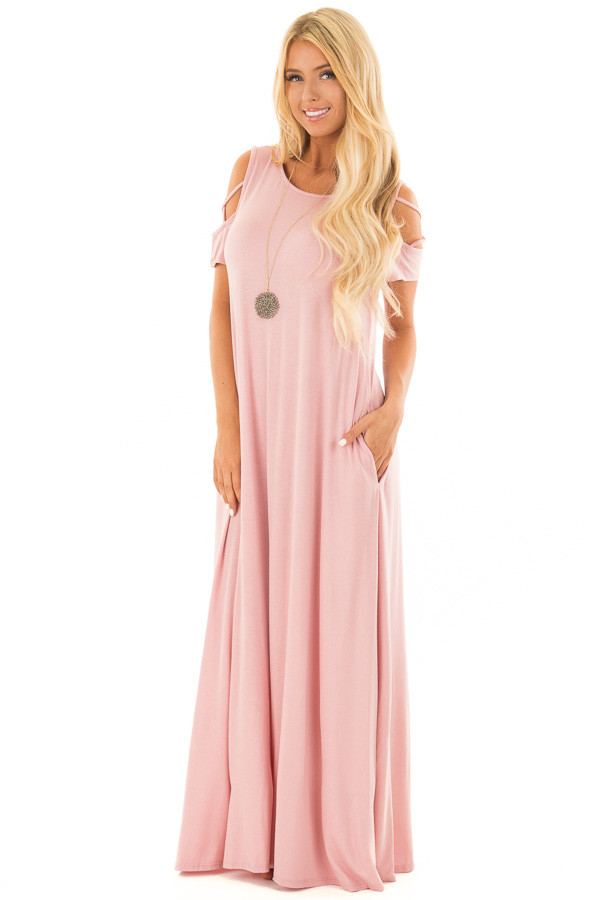 Rose Maxi Dress with X Strap Cold Shoulders and Pockets front close up