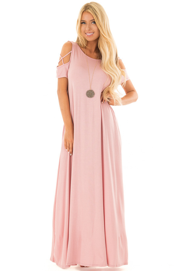 Rose Maxi Dress with X Strap Cold Shoulders and Pockets front full body