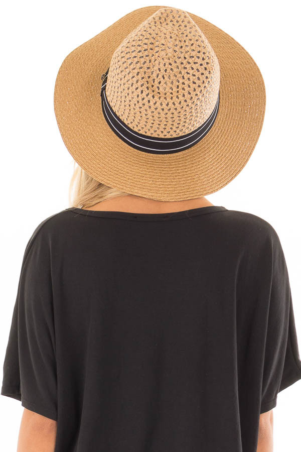 Light Brown Hat with Black Trim and Anchor Charm Detail back view
