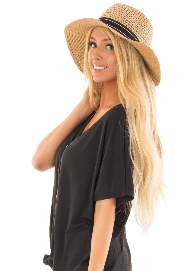 Light Brown Hat with Black Trim and Anchor Charm Detail side view