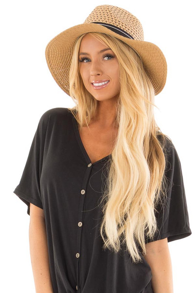 Light Brown Hat with Black Trim and Anchor Charm Detail front view