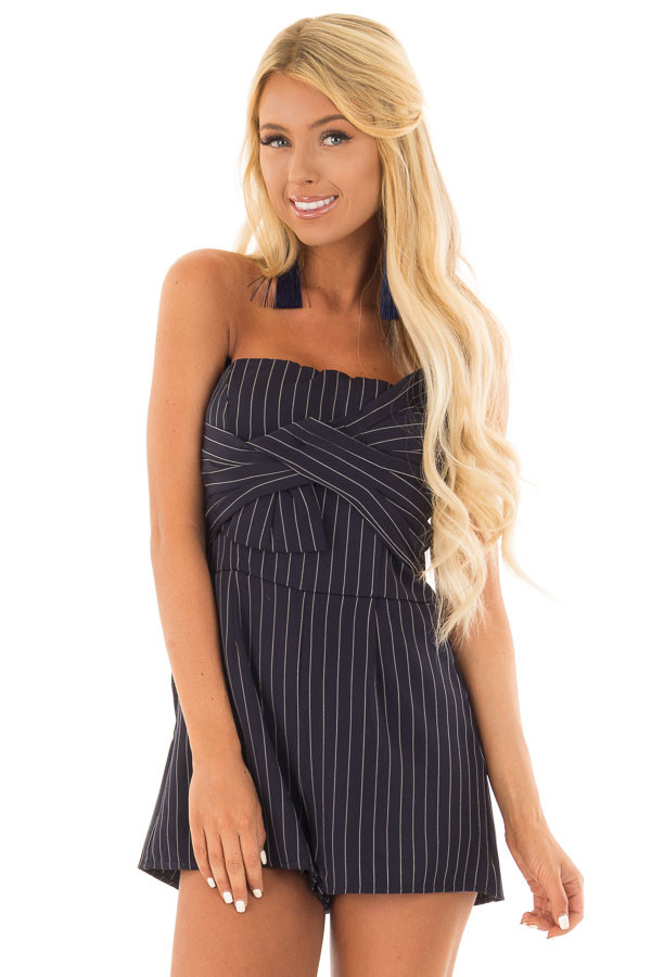 Navy Pinstripe Sleeveless Romper with Pockets front close up