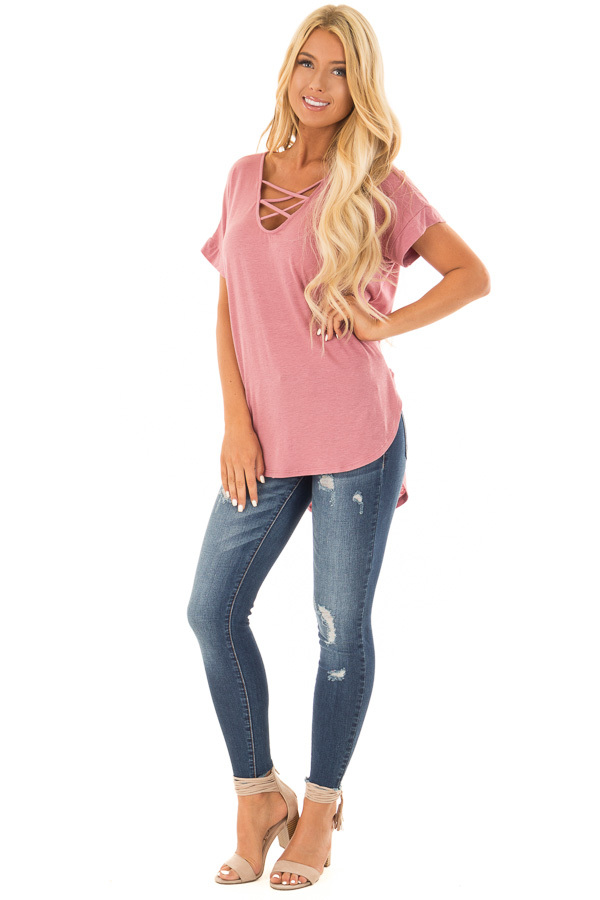 Dusty Blush Short Sleeve Top with Criss Cross Neckline front full body