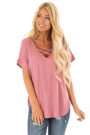 Dusty Blush Short Sleeve Top with Criss Cross Neckline front close up