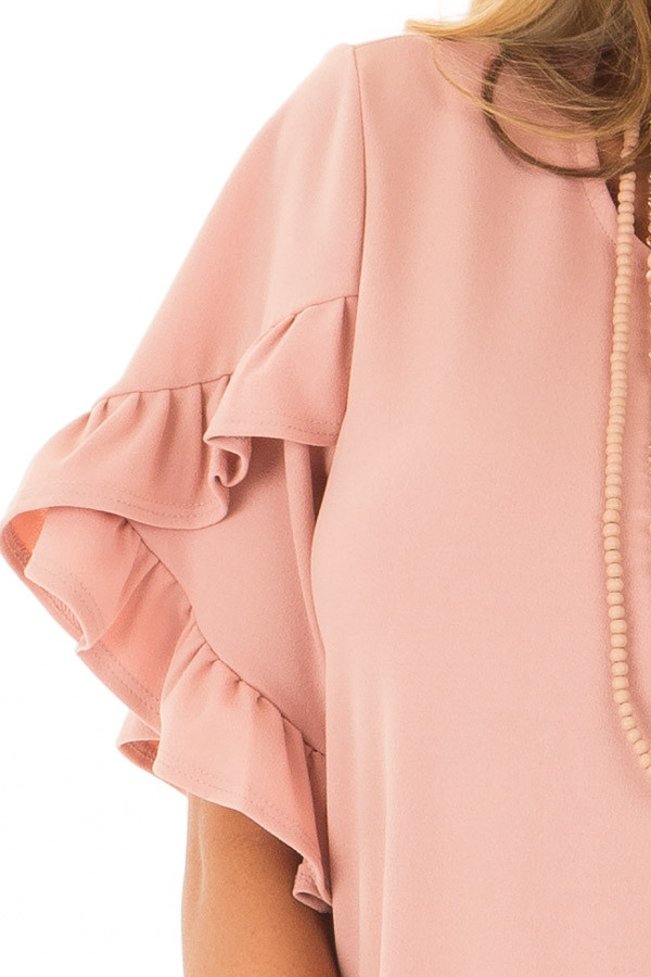 Blush Ruffle Sleeve Dress with Hidden Pockets detail