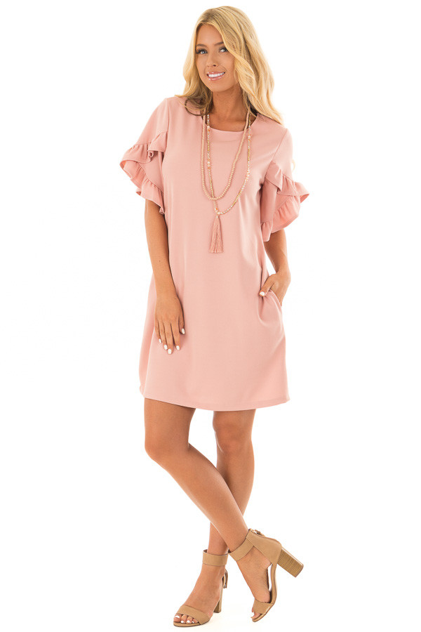 Blush Ruffle Sleeve Dress with Hidden Pockets front full body