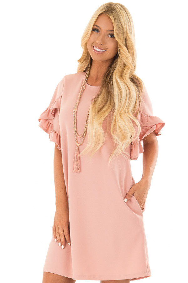Blush Ruffle Sleeve Dress with Hidden Pockets front close up