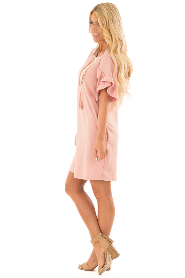 Blush Ruffle Sleeve Dress with Hidden Pockets side full body