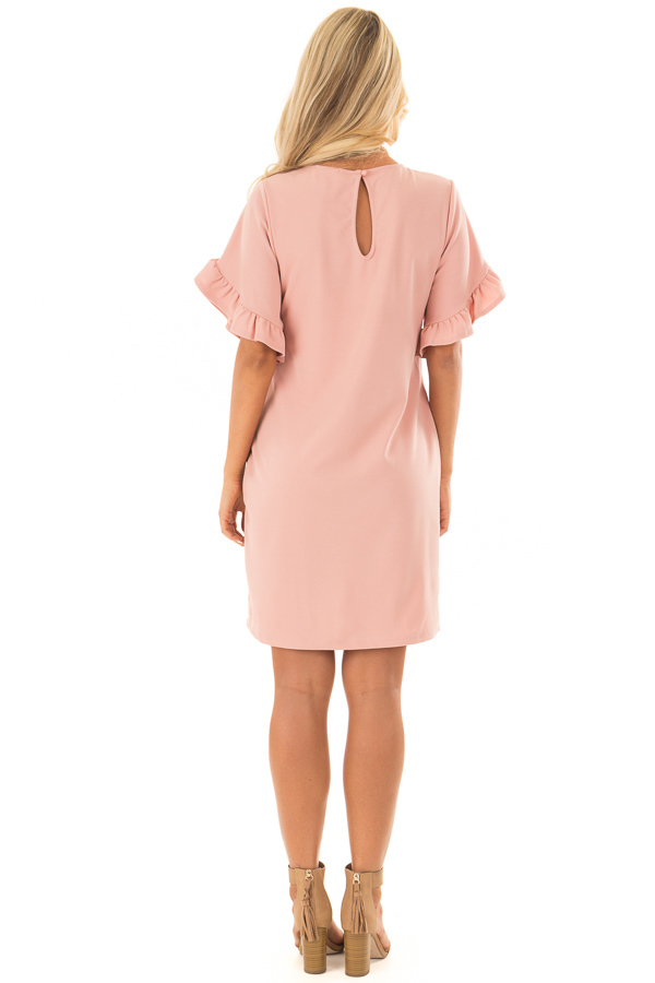 Blush Ruffle Sleeve Dress with Hidden Pockets back full body