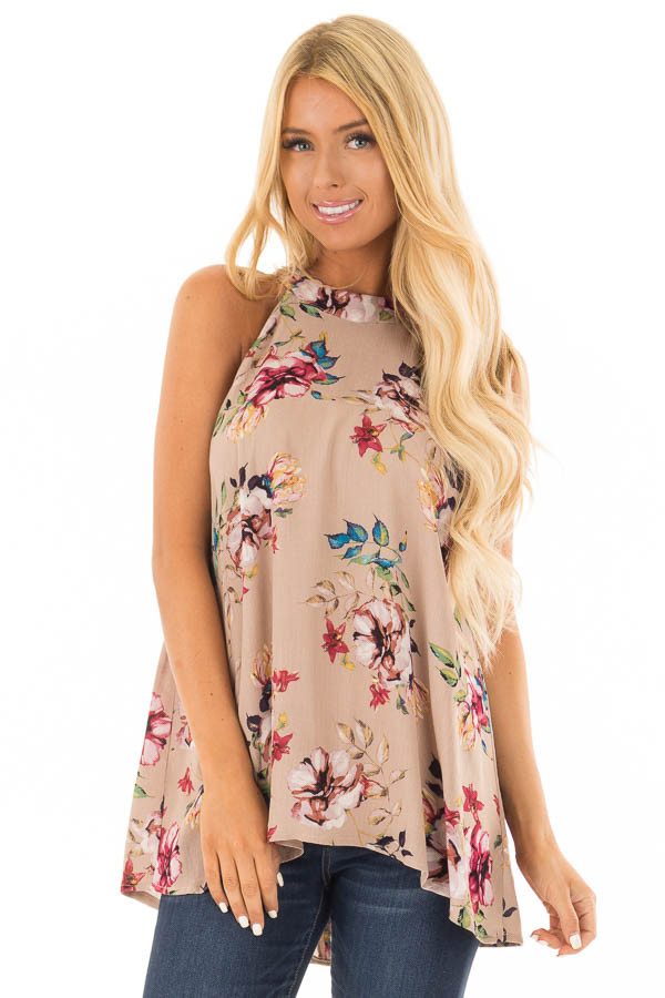 Taupe Floral Print Halter Tank with Keyhole Back front close up