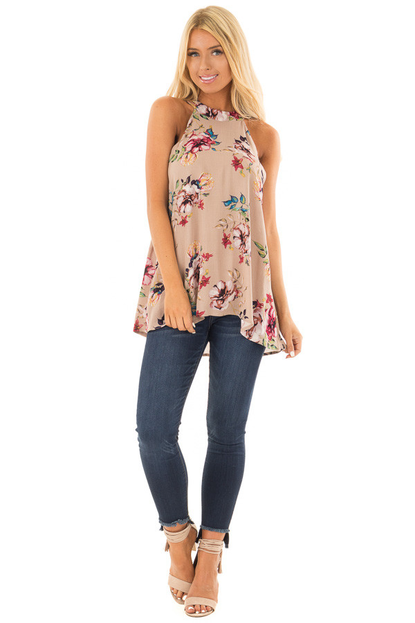 Taupe Floral Print Halter Tank with Keyhole Back front full body