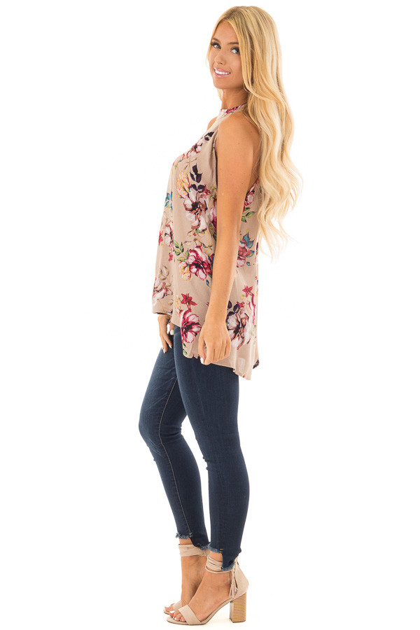 Taupe Floral Print Halter Tank with Keyhole Back side full body