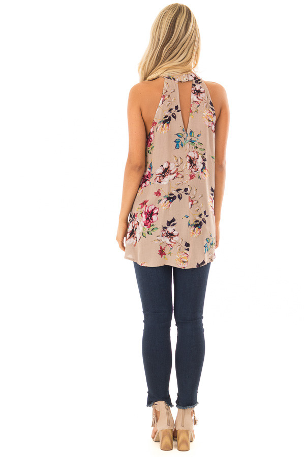 Taupe Floral Print Halter Tank with Keyhole Back back full body