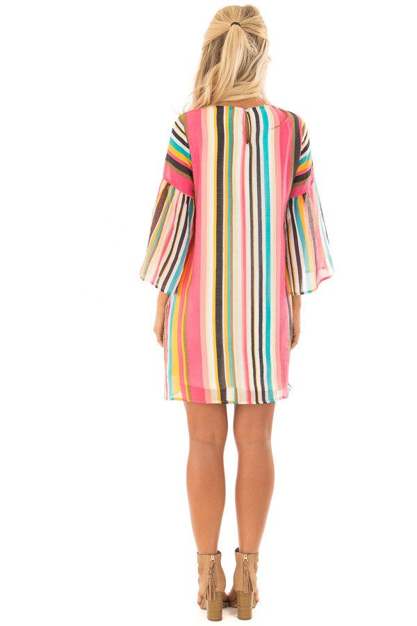 Multicolor 3/4 Sleeve Dress with Side Pockets back full body