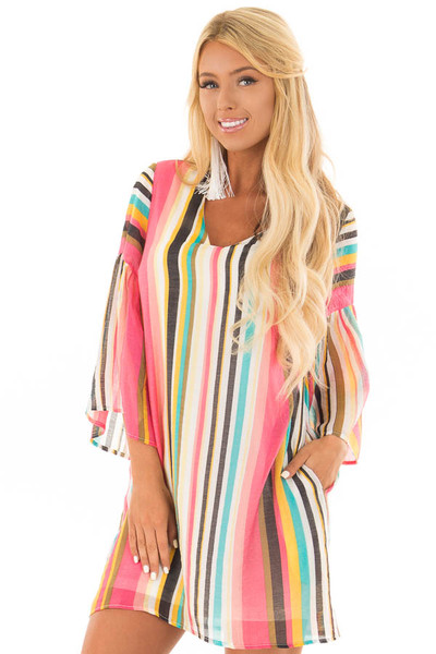 Multicolor 3/4 Sleeve Dress with Side Pockets front close up