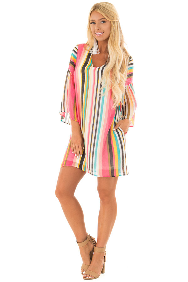Multicolor 3/4 Sleeve Dress with Side Pockets front full body