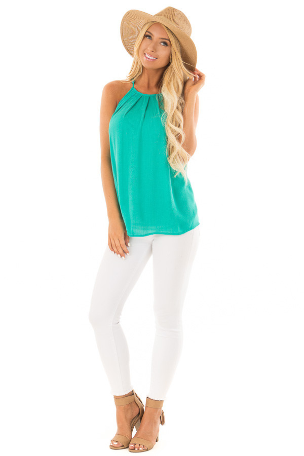 Jade Gathered Tank Top with Button Up Back front full body