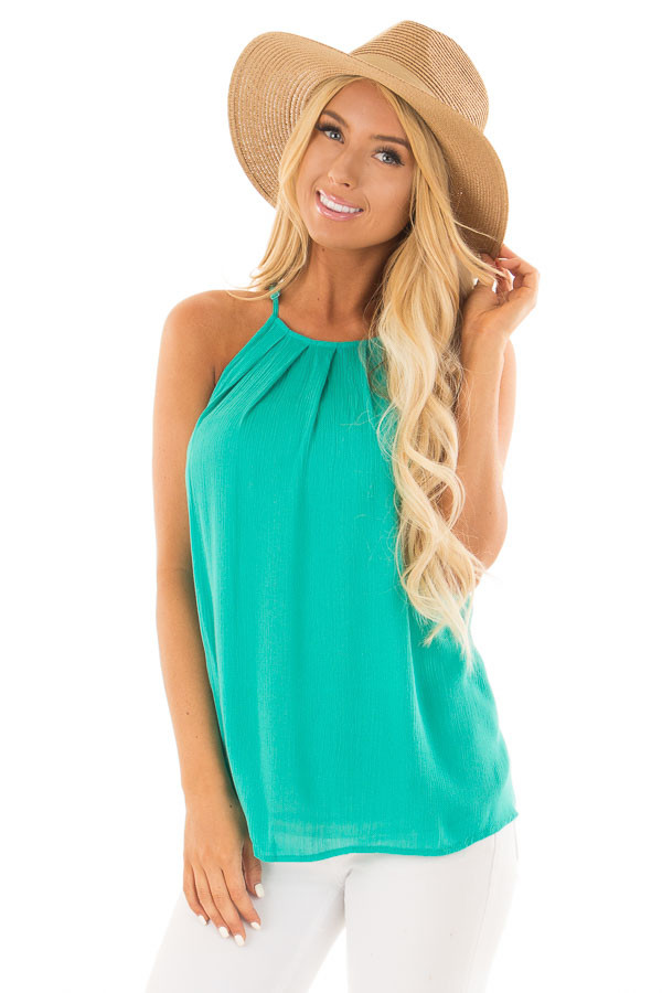Jade Gathered Tank Top with Button Up Back front close up