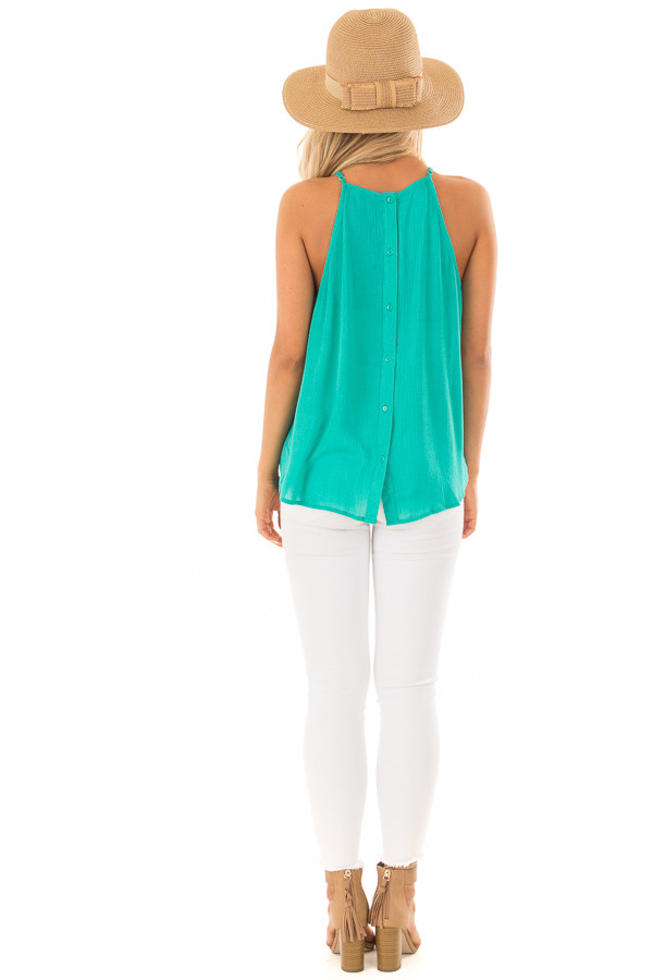 Jade Gathered Tank Top with Button Up Back back full body