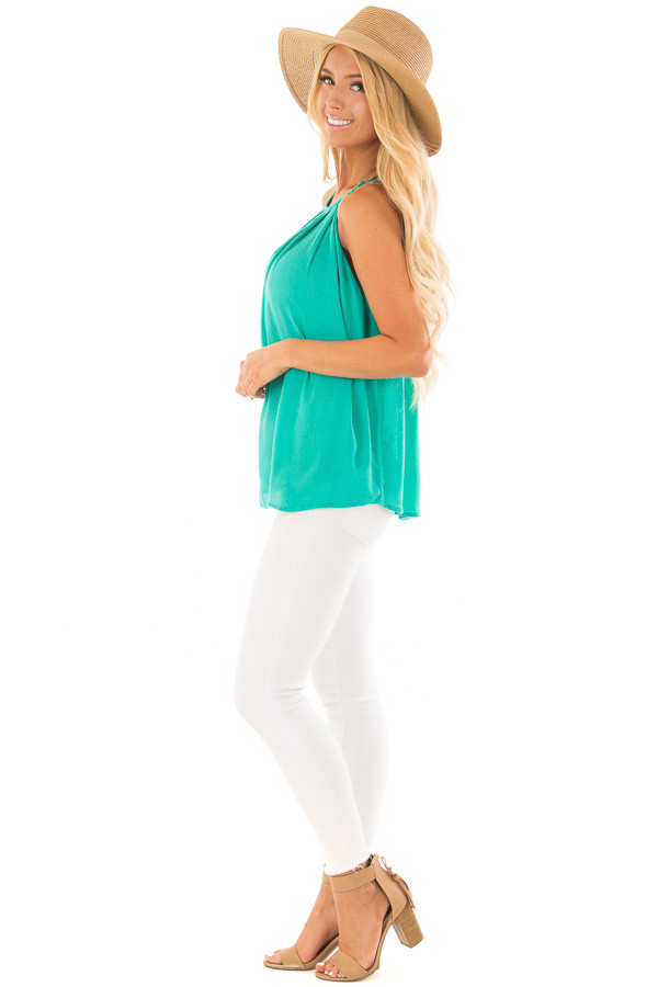 Jade Gathered Tank Top with Button Up Back side full body