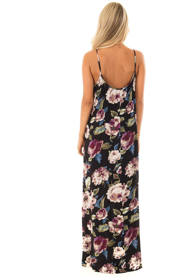 Black Floral Print Cocoon Maxi Dress back full body