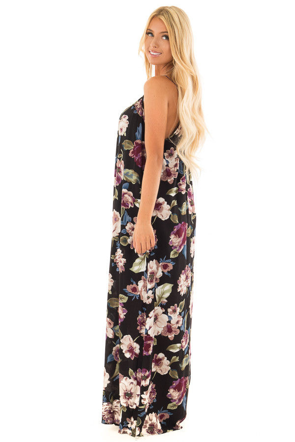 Black Floral Print Cocoon Maxi Dress side full body