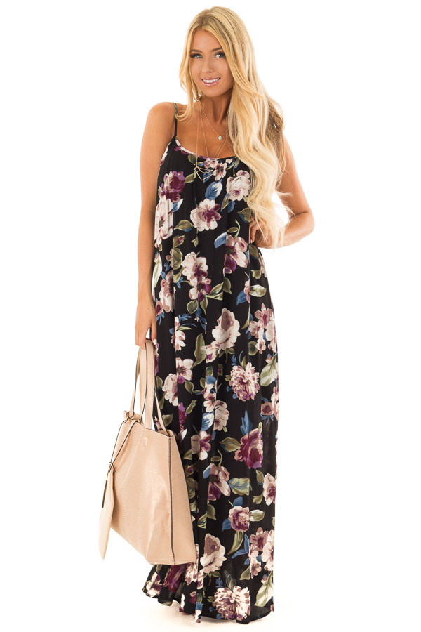 Black Floral Print Cocoon Maxi Dress front full body