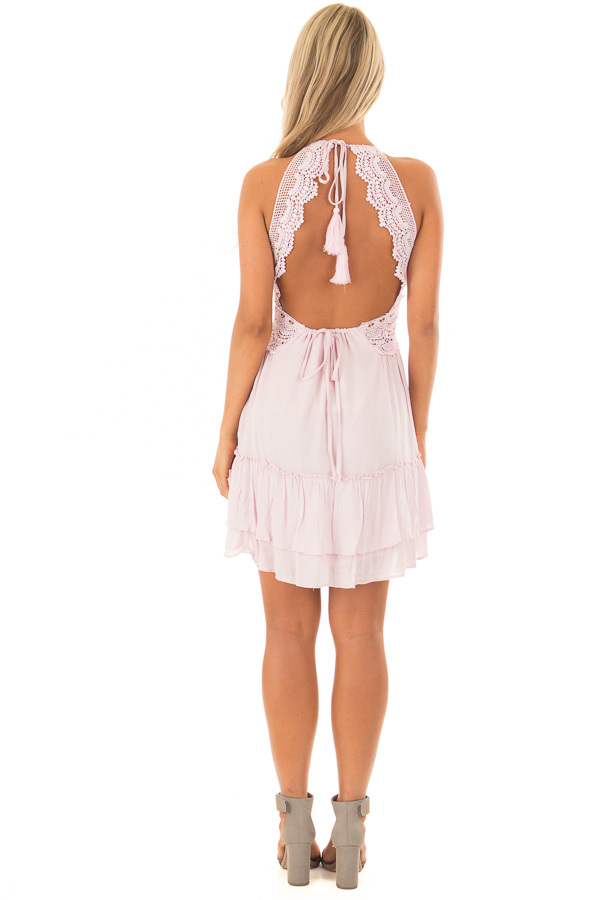 Dusty Pink Crochet Lace Halter Dress with Ruffle Detail back full body