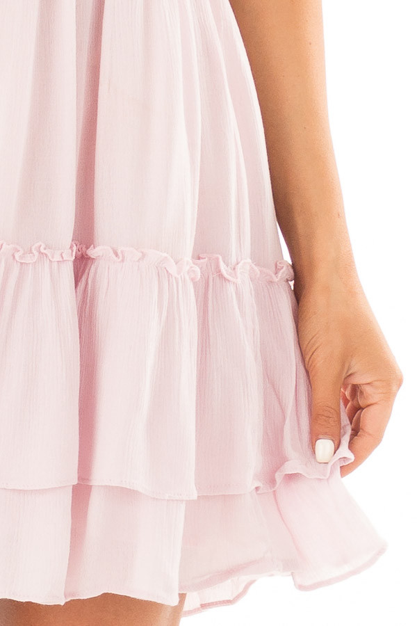 Dusty Pink Crochet Lace Halter Dress with Ruffle Detail detail