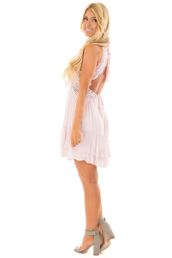 Dusty Pink Crochet Lace Halter Dress with Ruffle Detail side full body