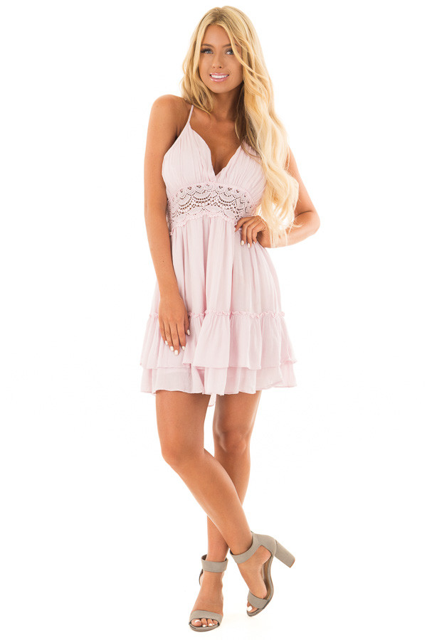 Dusty Pink Crochet Lace Halter Dress with Ruffle Detail front full body