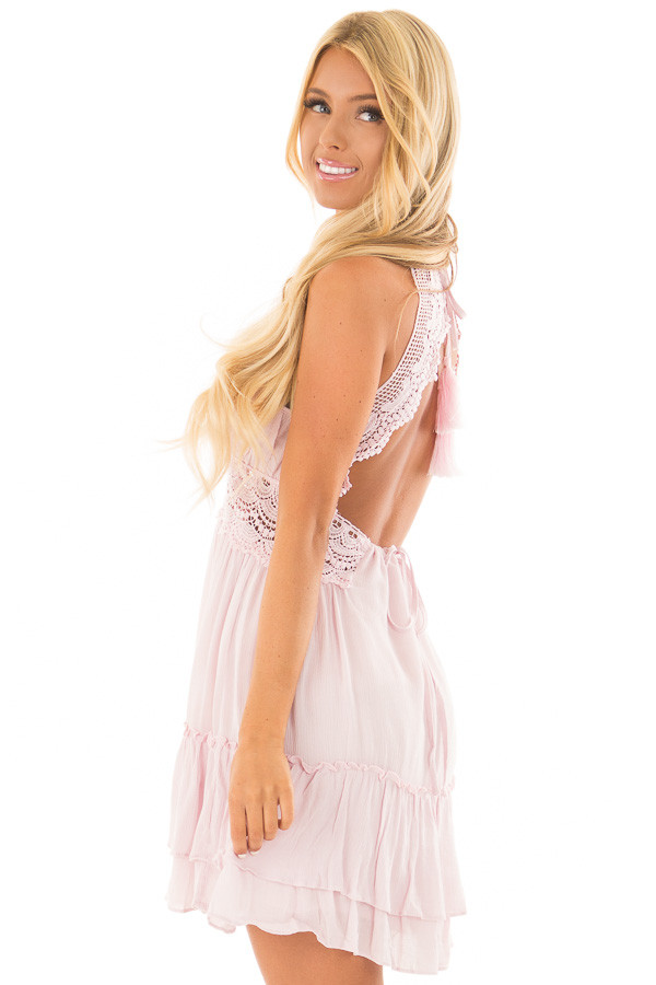 Dusty Pink Crochet Lace Halter Dress with Ruffle Detail side close up