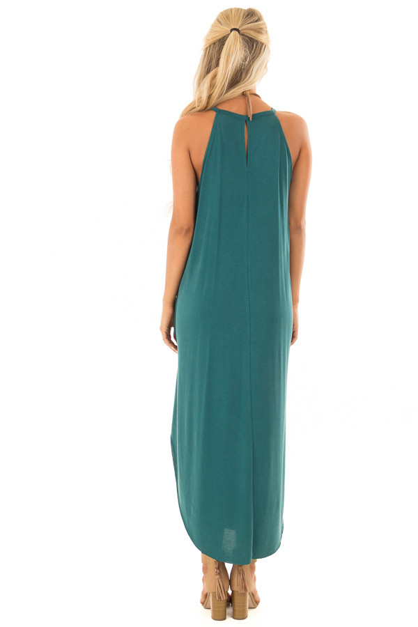 Hunter Green Tank Top Maxi Dress with Rounded Hem back full body