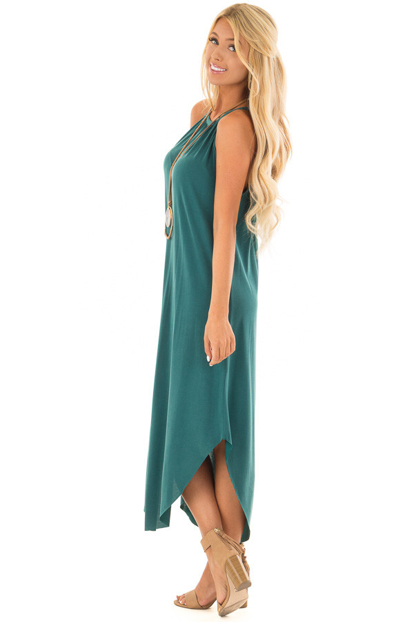 Hunter Green Tank Top Maxi Dress with Rounded Hem side full body