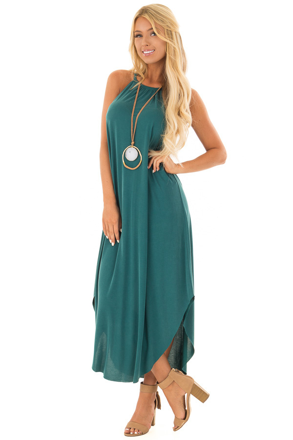 Hunter Green Tank Top Maxi Dress with Rounded Hem front full body