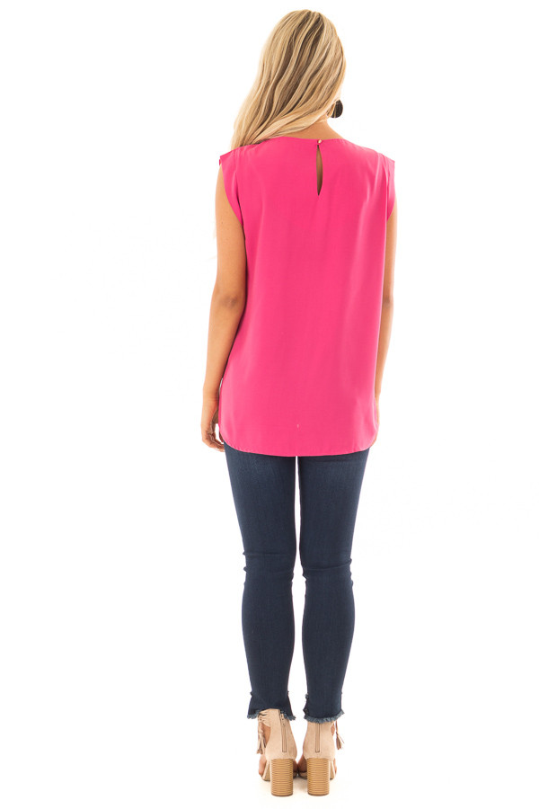 Hot Pink Blouse with Cut Out Neckline and Keyhole Back back full body