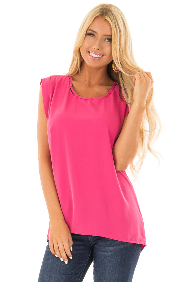 Hot Pink Blouse with Cut Out Neckline and Keyhole Back front close up