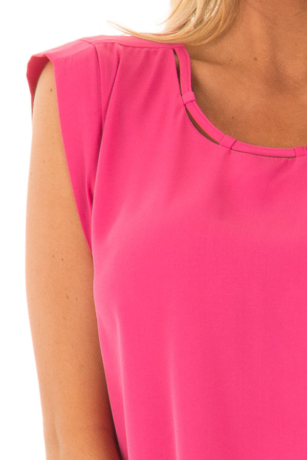 Hot Pink Blouse with Cut Out Neckline and Keyhole Back detail
