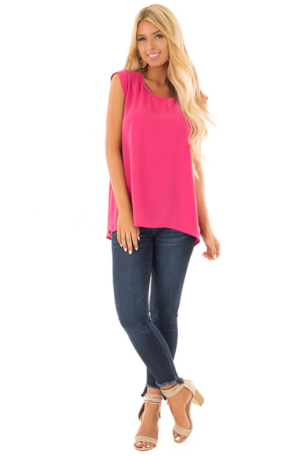 Hot Pink Blouse with Cut Out Neckline and Keyhole Back front full body