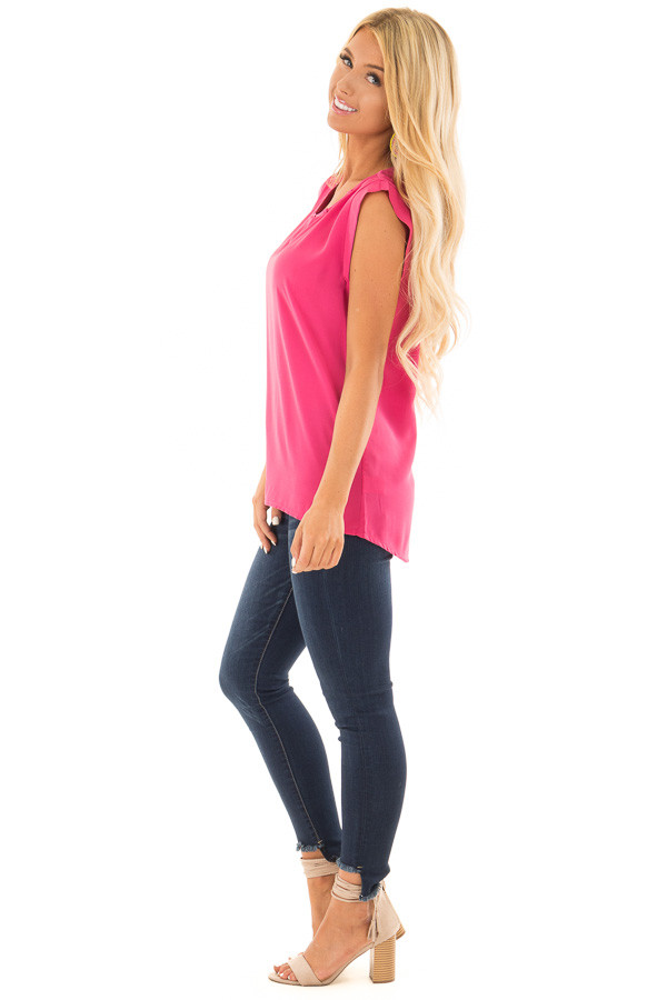 Hot Pink Blouse with Cut Out Neckline and Keyhole Back side full body