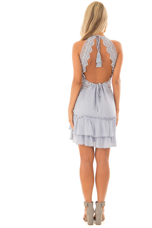 Baby Blue Crochet Lace Halter Dress with Ruffle Detail  back full body