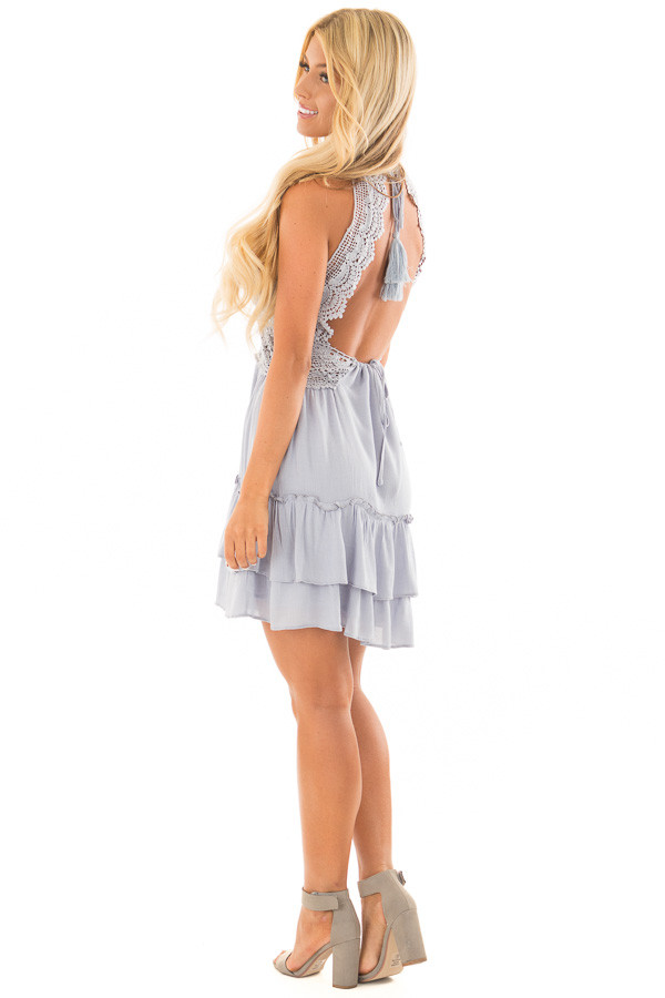 Baby Blue Crochet Lace Halter Dress with Ruffle Detail side full body