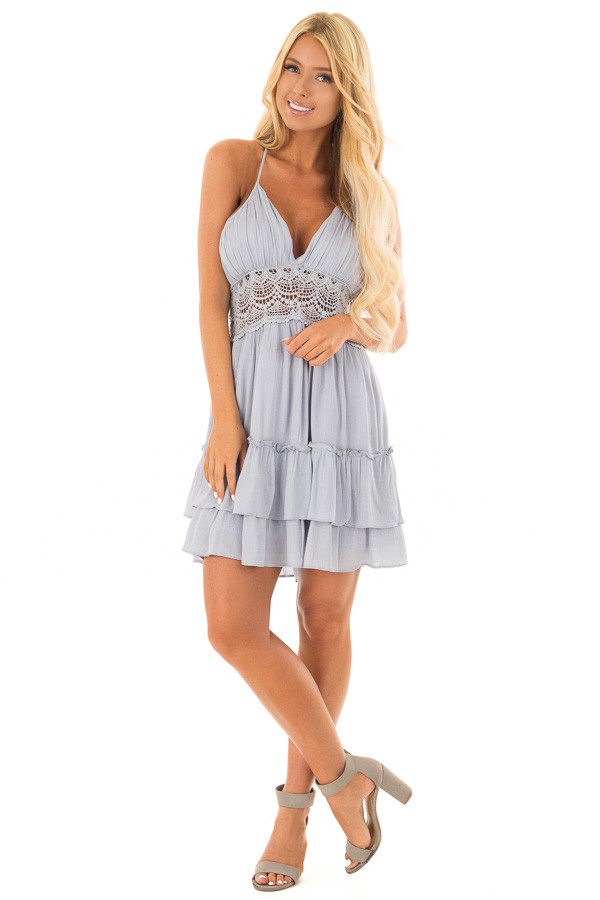 Baby Blue Crochet Lace Halter Dress with Ruffle Detail front full body
