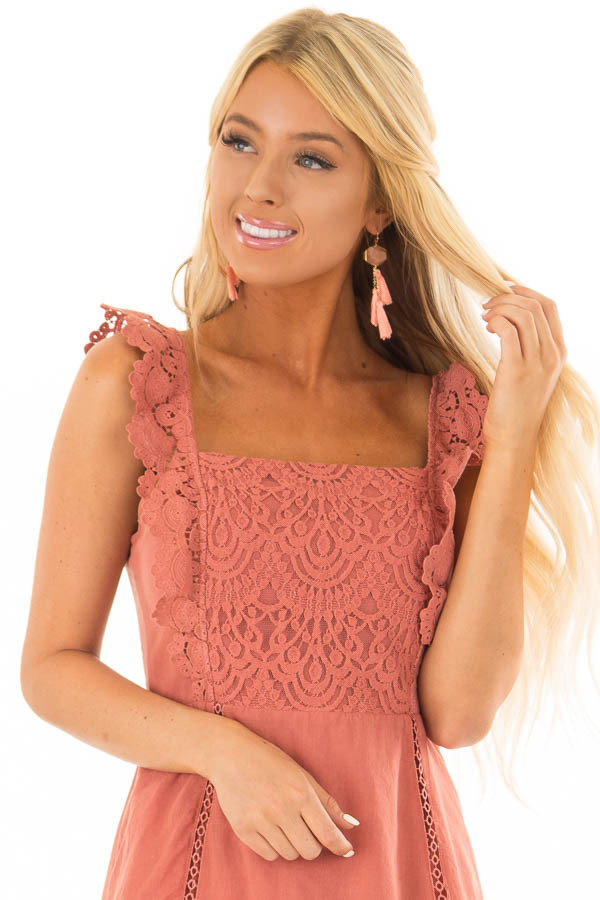 Coral Tassel Earrings with Stone Detail