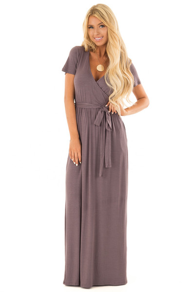 Charcoal Maxi Dress with Layered Front and Waist Tie front full body