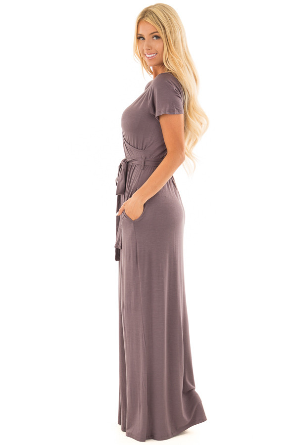 Charcoal Maxi Dress with Layered Front and Waist Tie side full body
