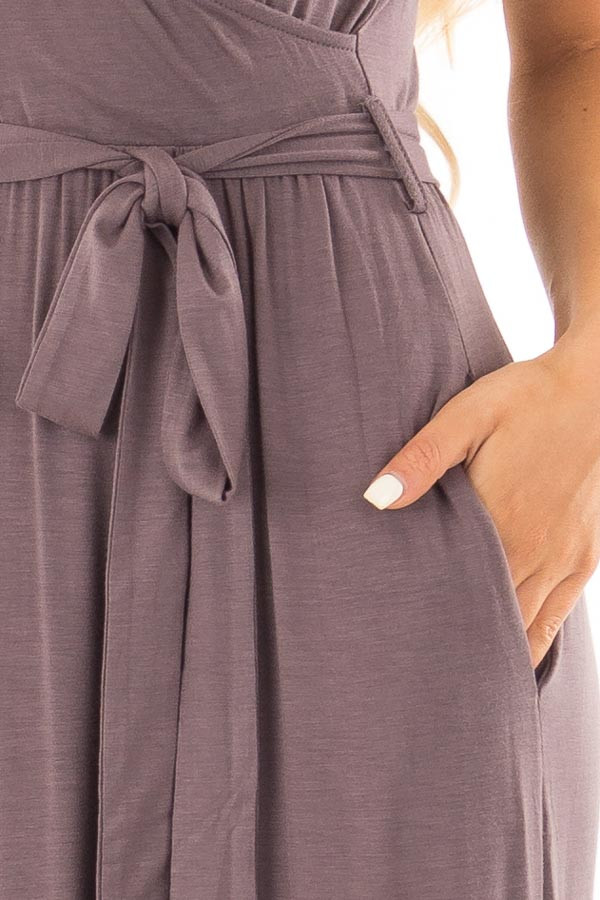 Charcoal Maxi Dress with Layered Front and Waist Tie front detail